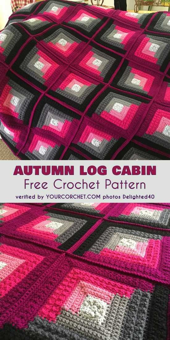 Autumn Log Cabin Throw Free Pattern