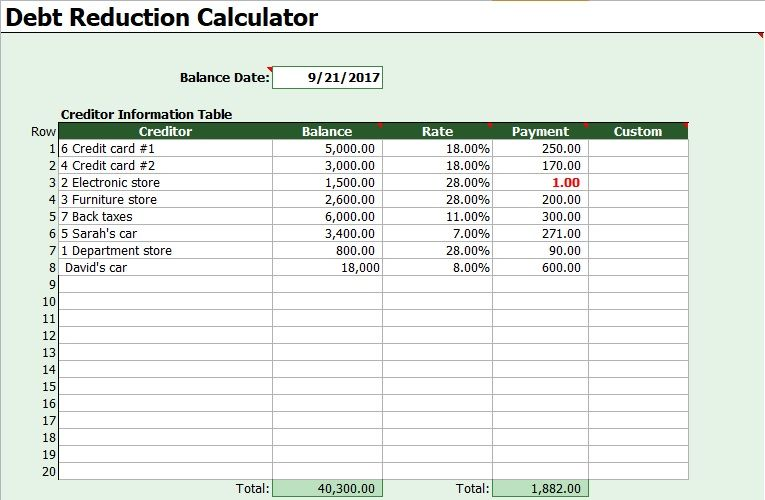 Debt Snowball Calculator Template  Excel Templates