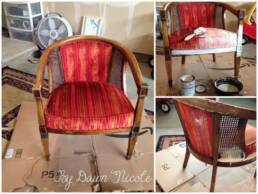 Barrel Cane Chair Makeover With Annie Sloan Chalk Paint Painted Fabric Bydawnnicole
