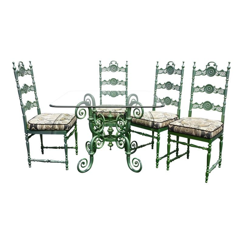 Vintage Regency Wrought Iron Metal Patio Dining Room Table