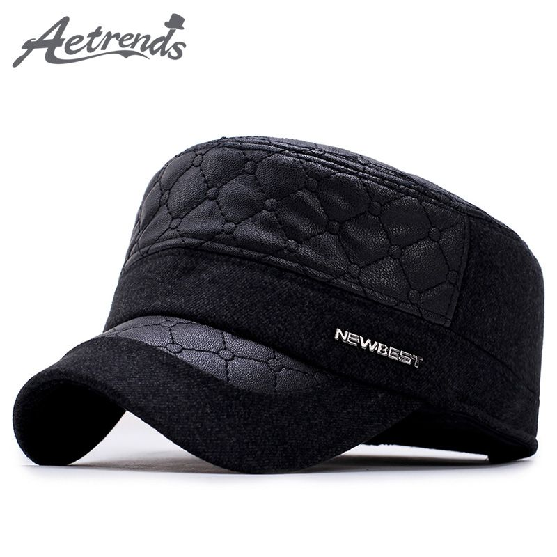 810835c0069 2017 New Winter Men s Military Cap with Ear Flaps PU Leather Dad Hats Flat  Captain Sailor Army Cap Z-6020