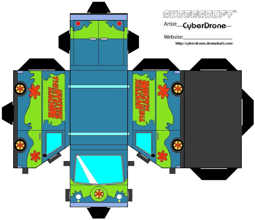 Scooby doo theme cutout template for the mystery machine for Scooby doo cake template