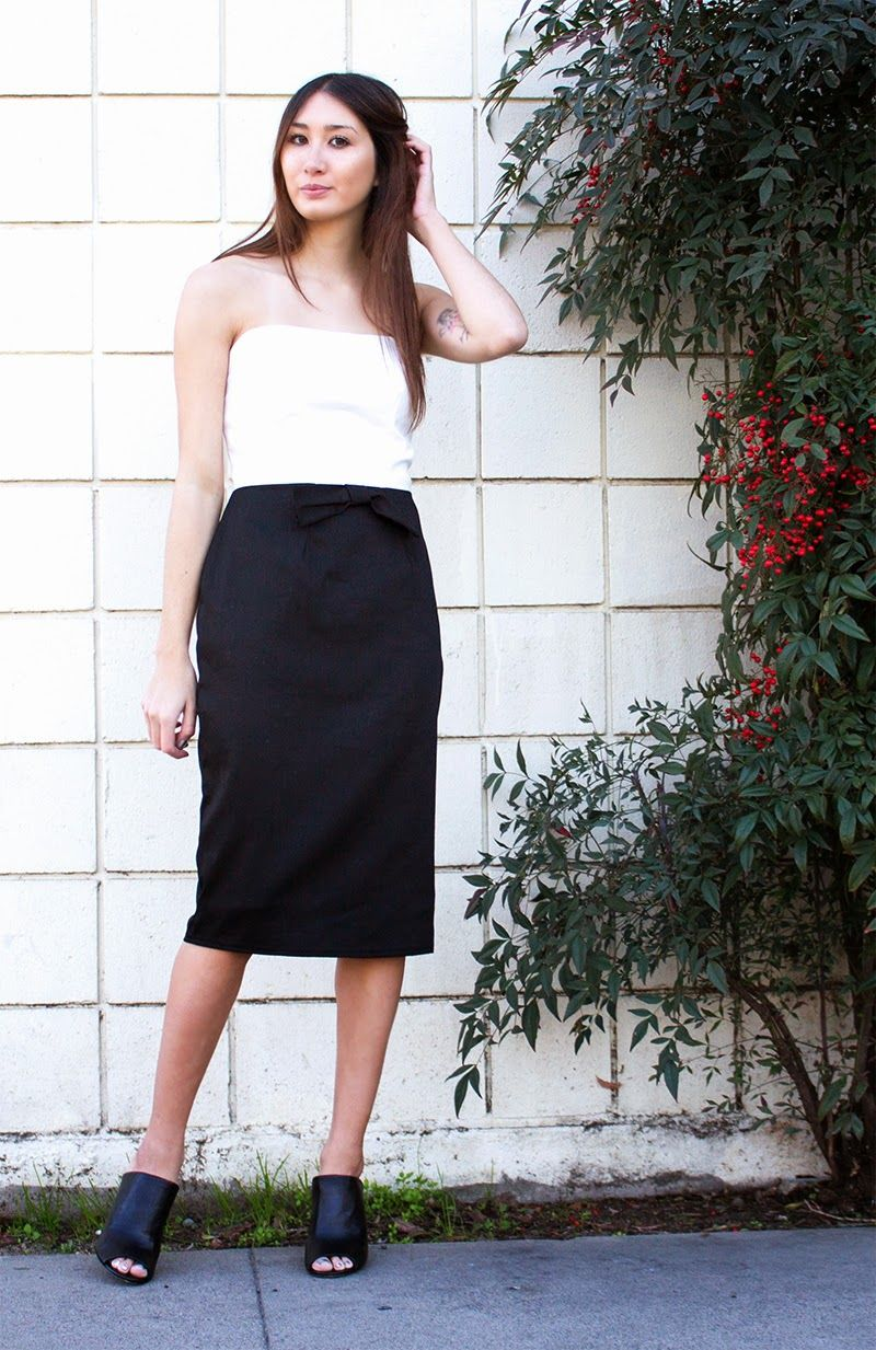 San Francisco Street Style: Wearing Alyssa Nicole Signature Collection -Tuxedo Pencil Dress & Saks Fifth Avenue Mules