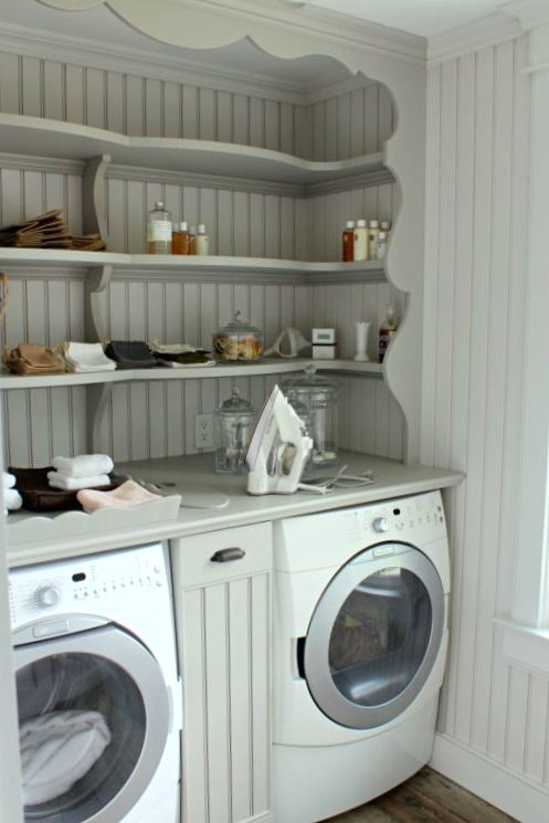 Fun Beadboard And Shelves In Laundry Room Laundry Room Shelves