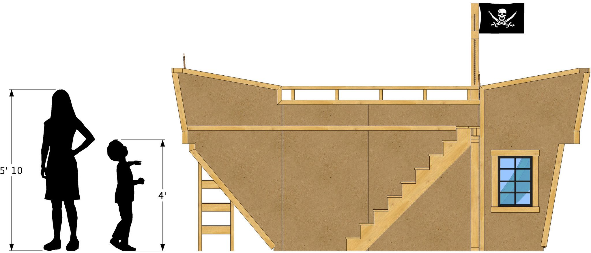 Loft bed plans with stairs  Pirate Ship Bunk Bed Plan