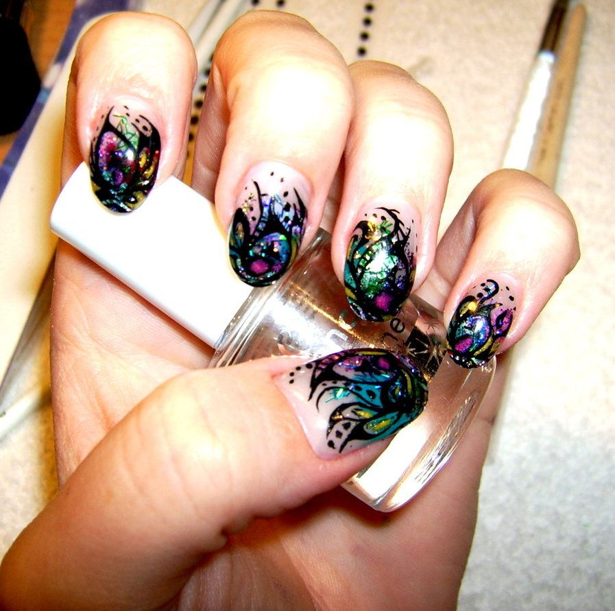 peacock nail design  i'm doing this now. hoping this result XD