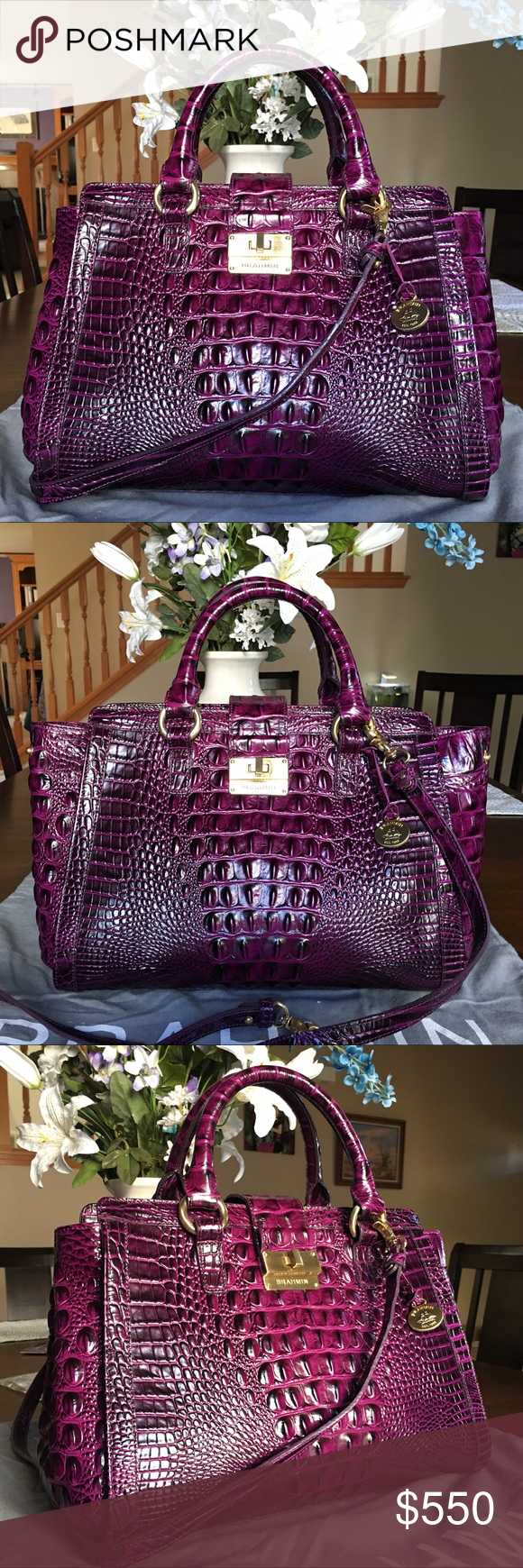08b9bba79348 Brahmin IRIS PURPLE Annabelle Satchel Bag - Like new condition. No