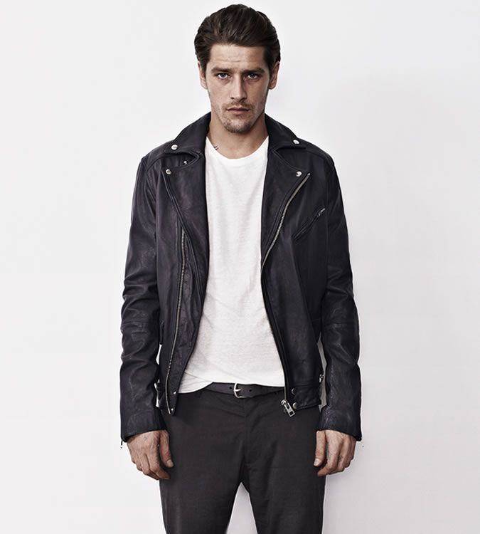Men's Go-To Outfit Combinations - Black Biker Jacket With White T ...