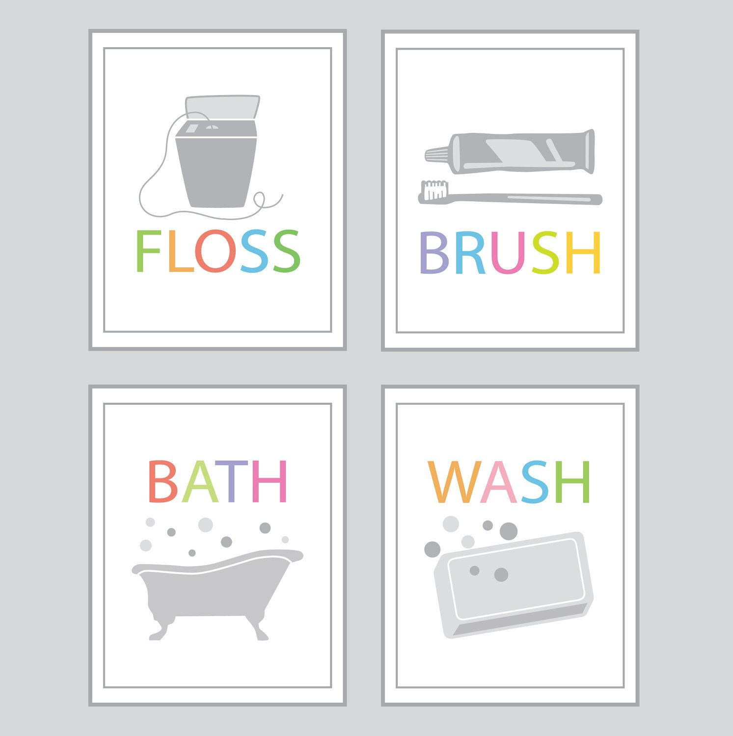 Bathroom decor bath wash brush floss set of four x prints