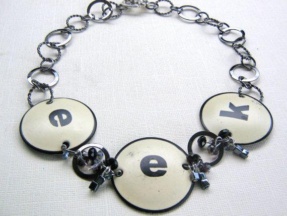 Eek!!!  Halloween necklace black and white by jenniflairjewelry, $45.00