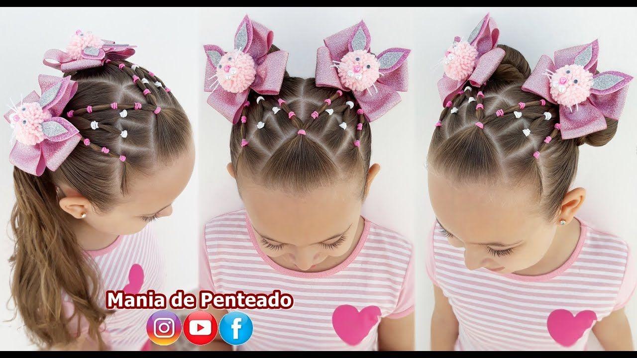 Penteado Infantil Em Ligas Com Orelhinhas Para Pascoa Easter Hairstyle With Rubber Band Youtube In 2020 Rubber Band Hairstyles Easter Hairstyles Hair Styles