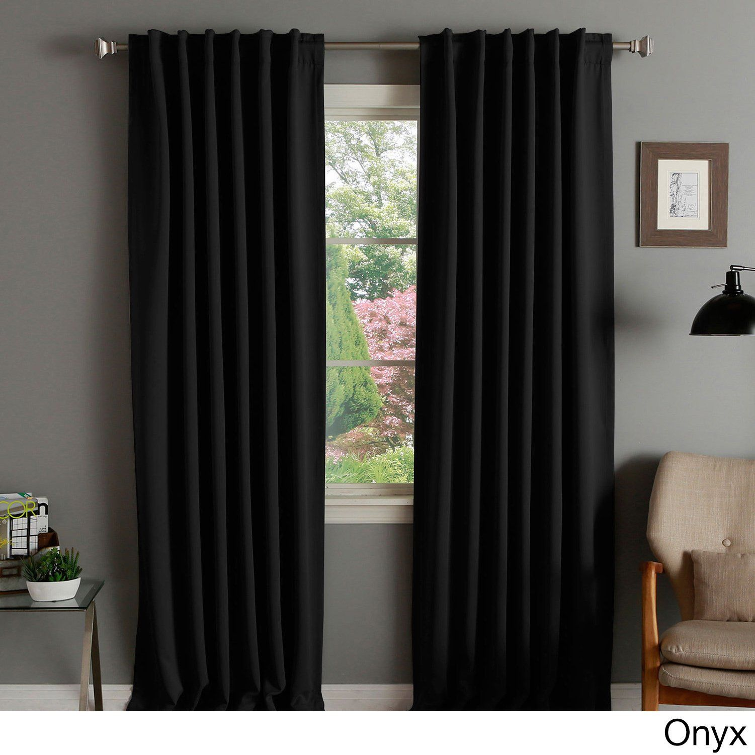 Aurora Home Insulated Thermal Blackout 84 Inch Curtain Panel Pair