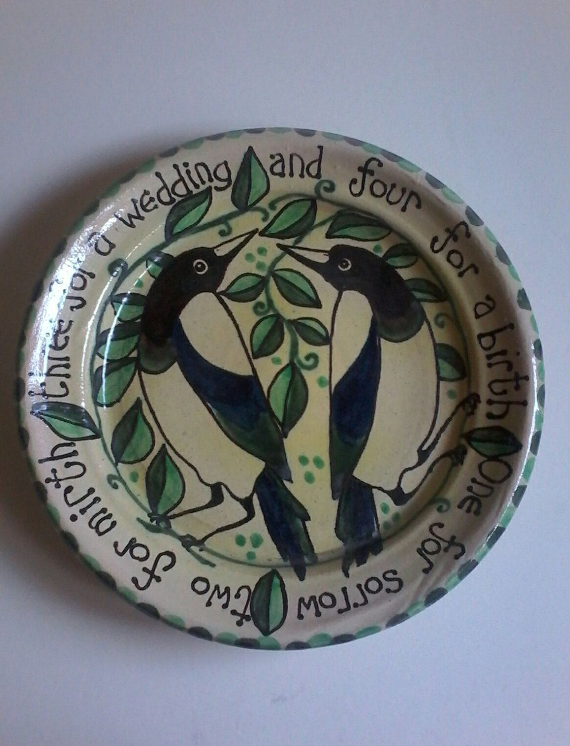 Handmade Pottery Wedding Plate Gift Magpies Bird Plate Wedding