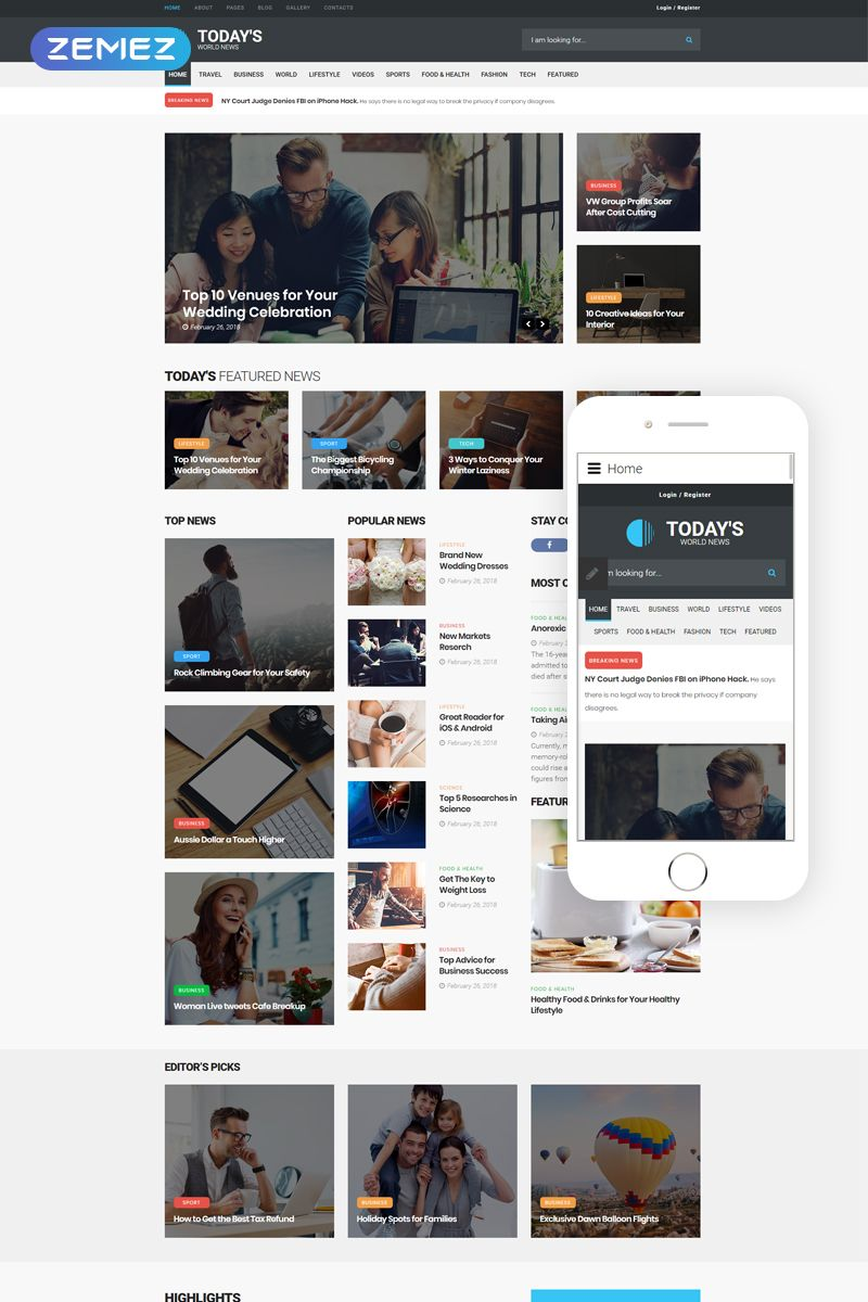 News Portal Responsive Joomla Template 64017 Joomla Templates Portal Logo Web Design Projects