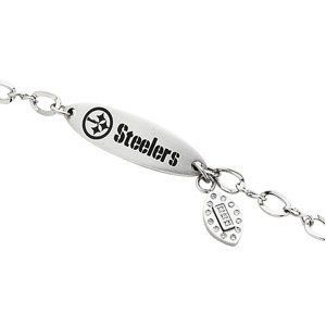 Stainless Steel Pittsburgh Steelers Logo Dangle ID Bracelet Body Candy. $75.00. Save 50% Off!