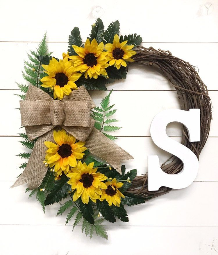 Photo of Sunflower Wreath with Initial | Front Door Wreath with Letter and Burlap Bow | Floral Door Wreath for All Seasons with Monogram