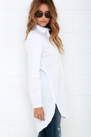 800174173b3f4 Mink Pink Call Me Crazy White Button-Up Tunic Top at Lulus.com!