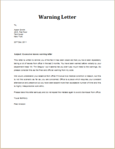 Excessive leaves warning letter download at httptemplateinn excessive leaves warning letter download at httptemplateinn8 warning letter templates thecheapjerseys