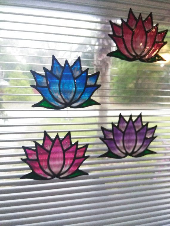 Stained Glass Lotus Flower Small Window Cling Faux Stained Glass