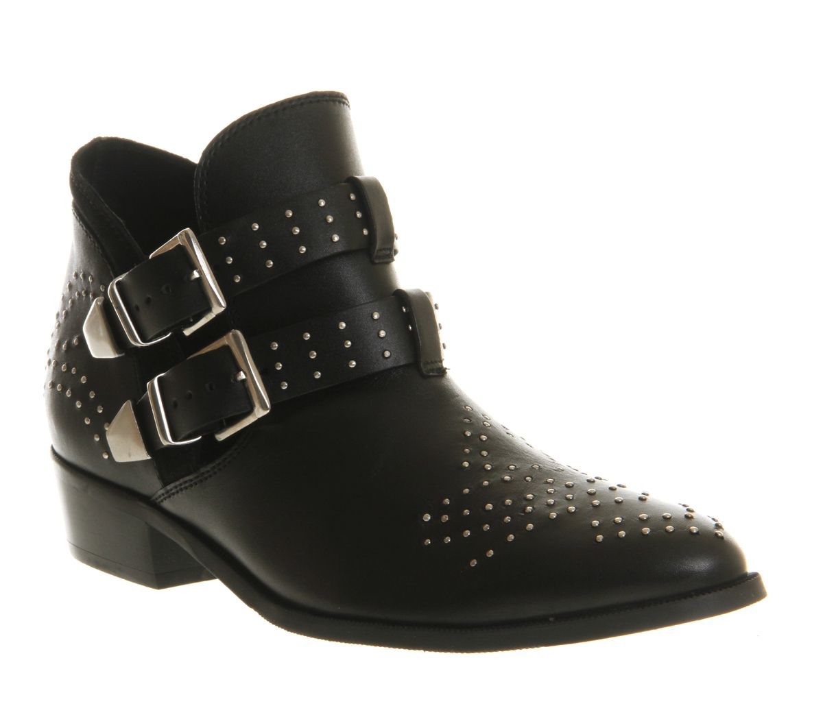 Office Mohawk Cut Out Black Leather Ankle Boots