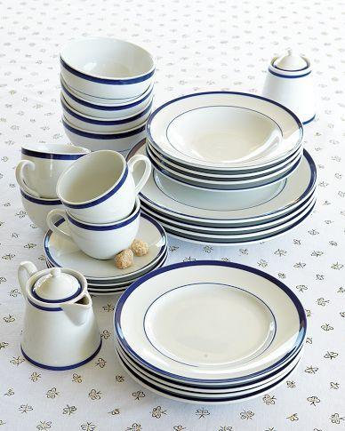 Brasserie Blue Banded Porcelain Dinner Plates Set Of 4