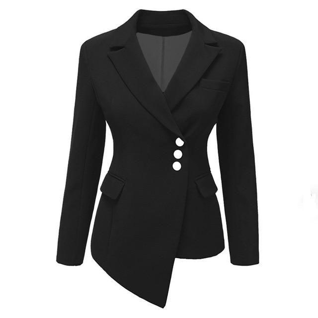9828bde1adbaf Women office Coat Plus Size Autumn Lady Lapel Single-Breasted Asymmetric  Girl Fashion Blazer Long
