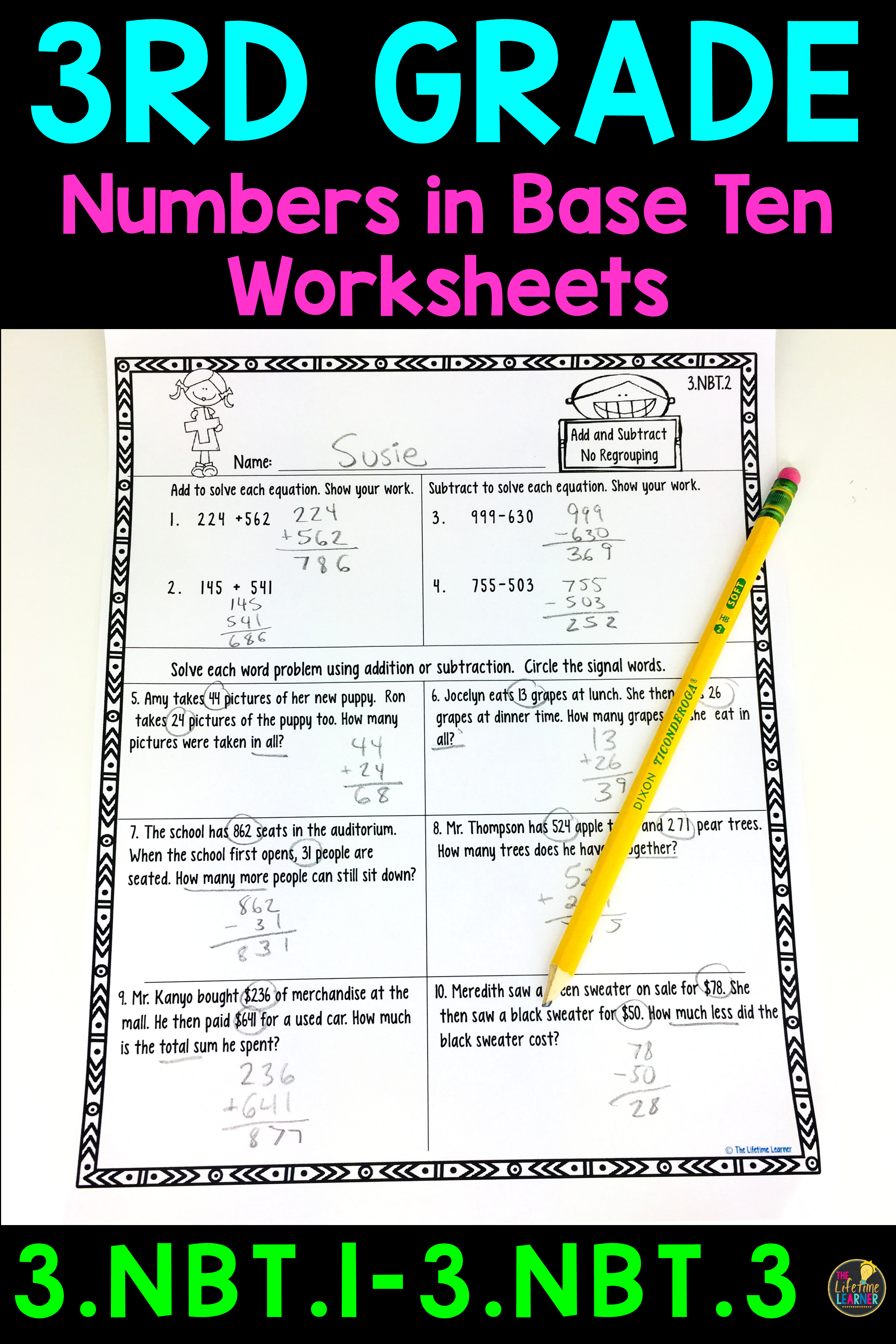 3rd Grade Numbers And Operations In Base Ten Worksheets Third