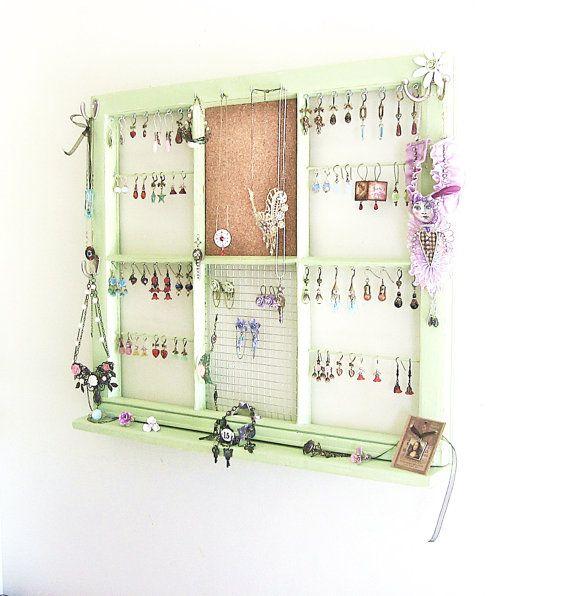 Upcycled Window Frame, Green Window Jewelry Holder, Jewelry Storage ...