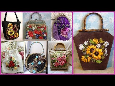 4f2f9edac81b ribbon work embroidery design embroidered purses and handbags silk ribbon  embroidery - YouTube