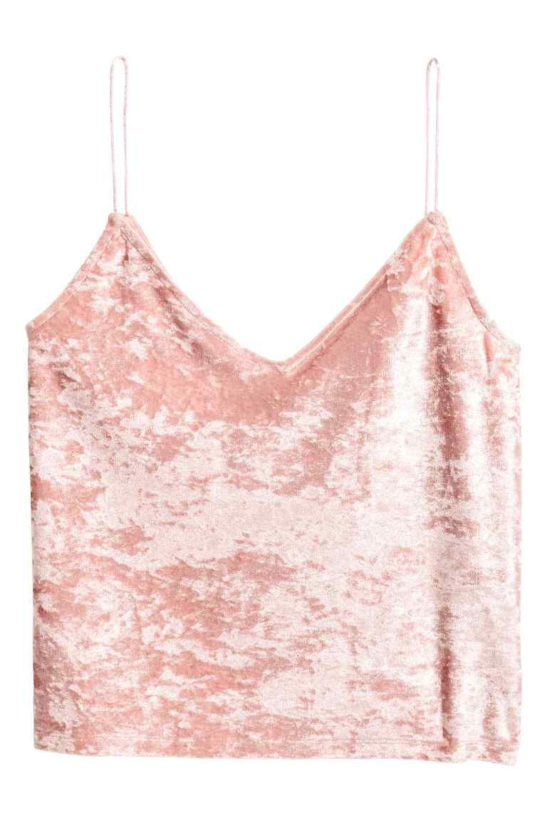 4f0f603ca43 at the lunch table aka largie scene (Crushed velvet strappy top - Pink -  Ladies | H&M CN)