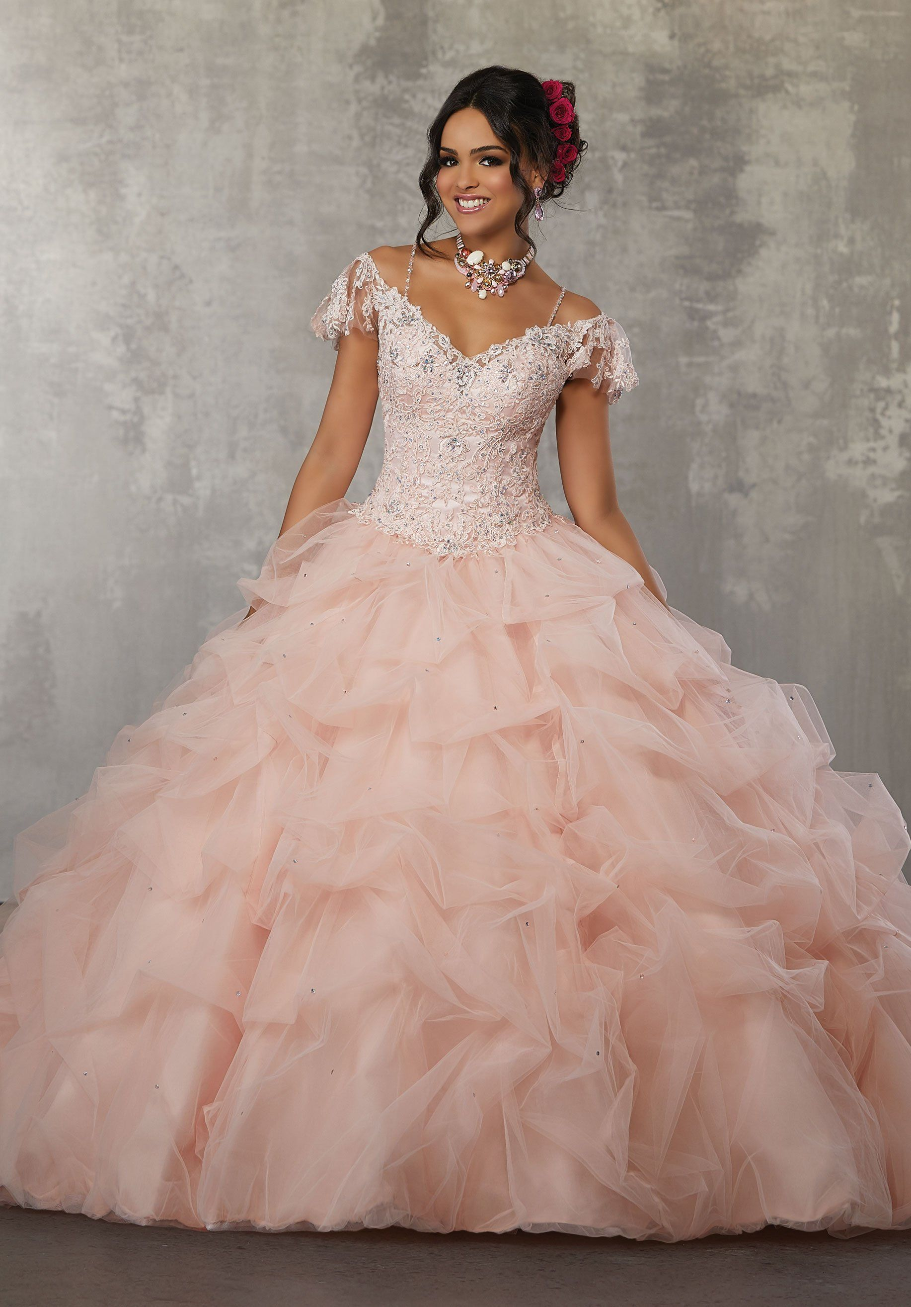Off the Shoulder Lace Quinceanera Dress by Mori Lee Valencia 60034