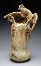 Amphora Ceramic Monumental Parrot Vase.,  1900. Amphora Oval, Austria Oval, Amphora Crown Mark, Impressed 4535