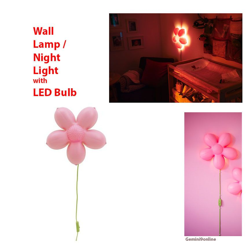 Ikea kids wall lamp with led bulb smila blomma pink flower girls ikea kids wall lamp pink flower smila blomma night light girls room new ebay mightylinksfo