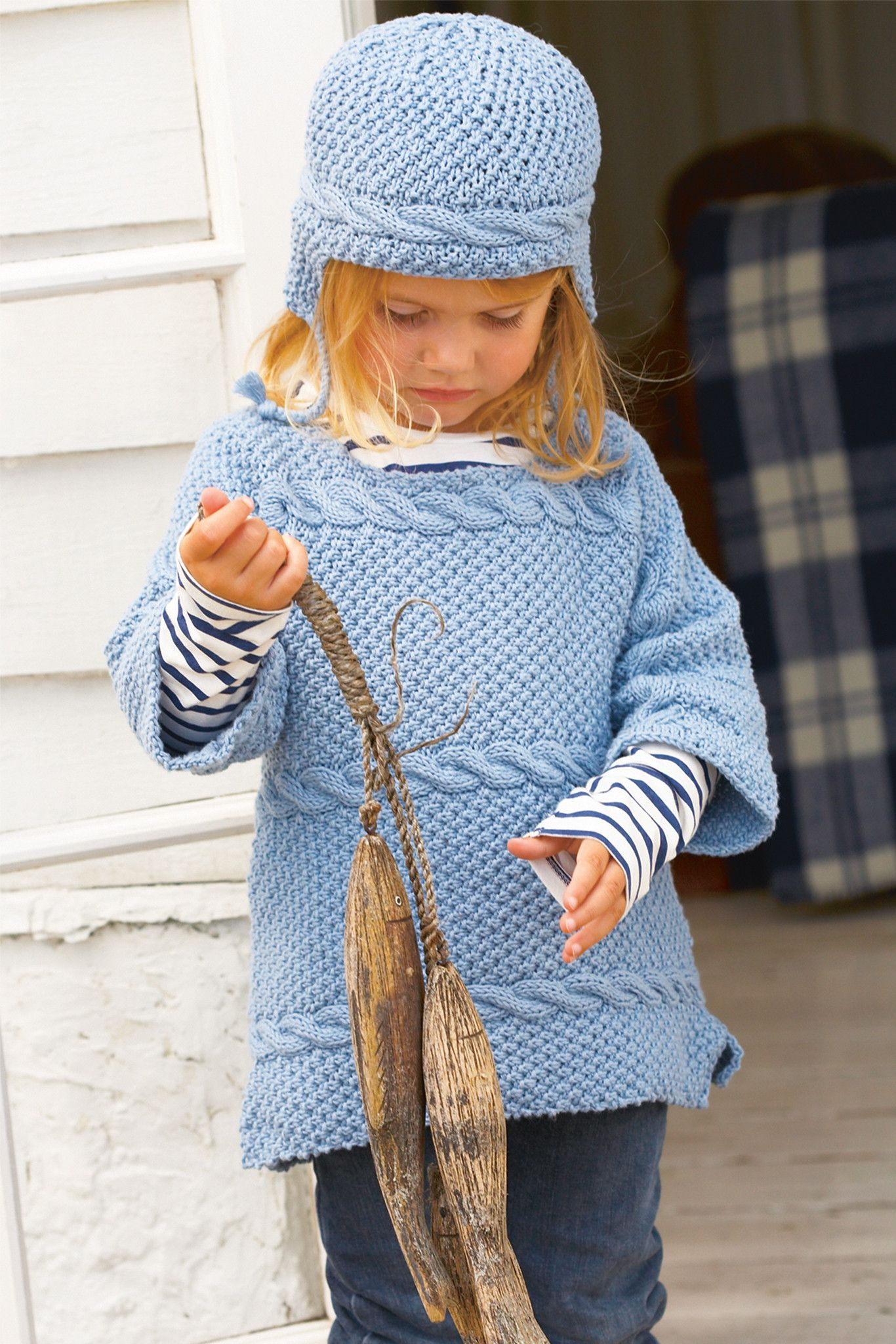 Knitted cable jumper and hat with ear flaps for small girl. Shop ...
