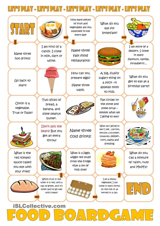 Food Boardgame FREE ESL worksheets Speaking games