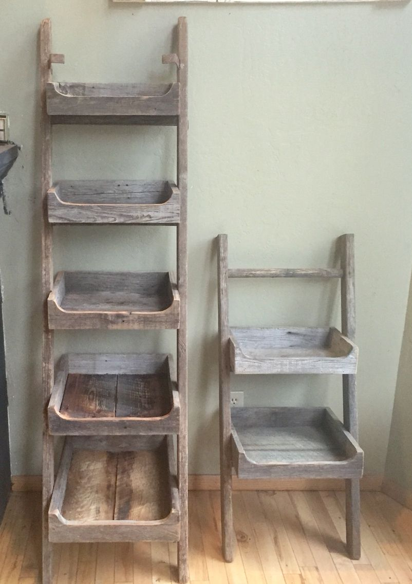 Shelf Stand Made From Old Ladder And Barn Wood Beaches