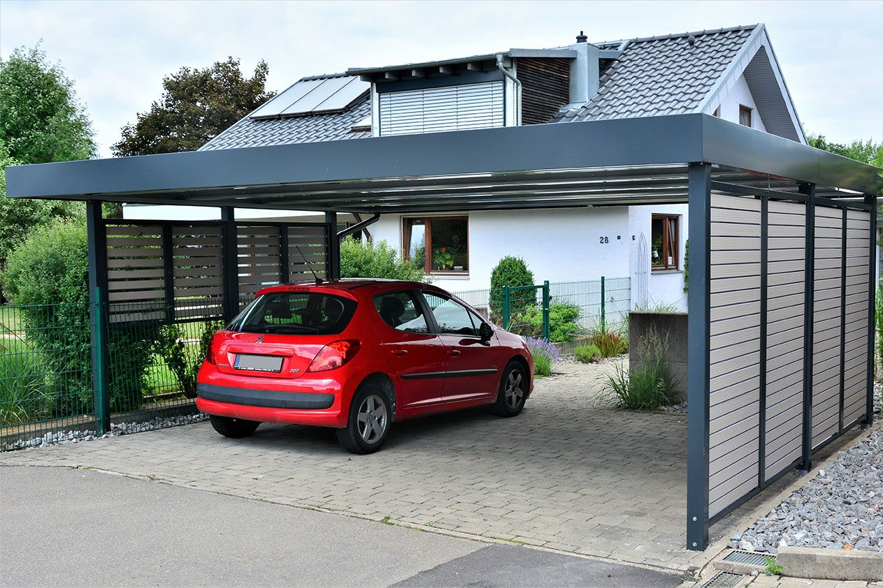 carport von siebau mit sichtschutz wpc my pins garage. Black Bedroom Furniture Sets. Home Design Ideas