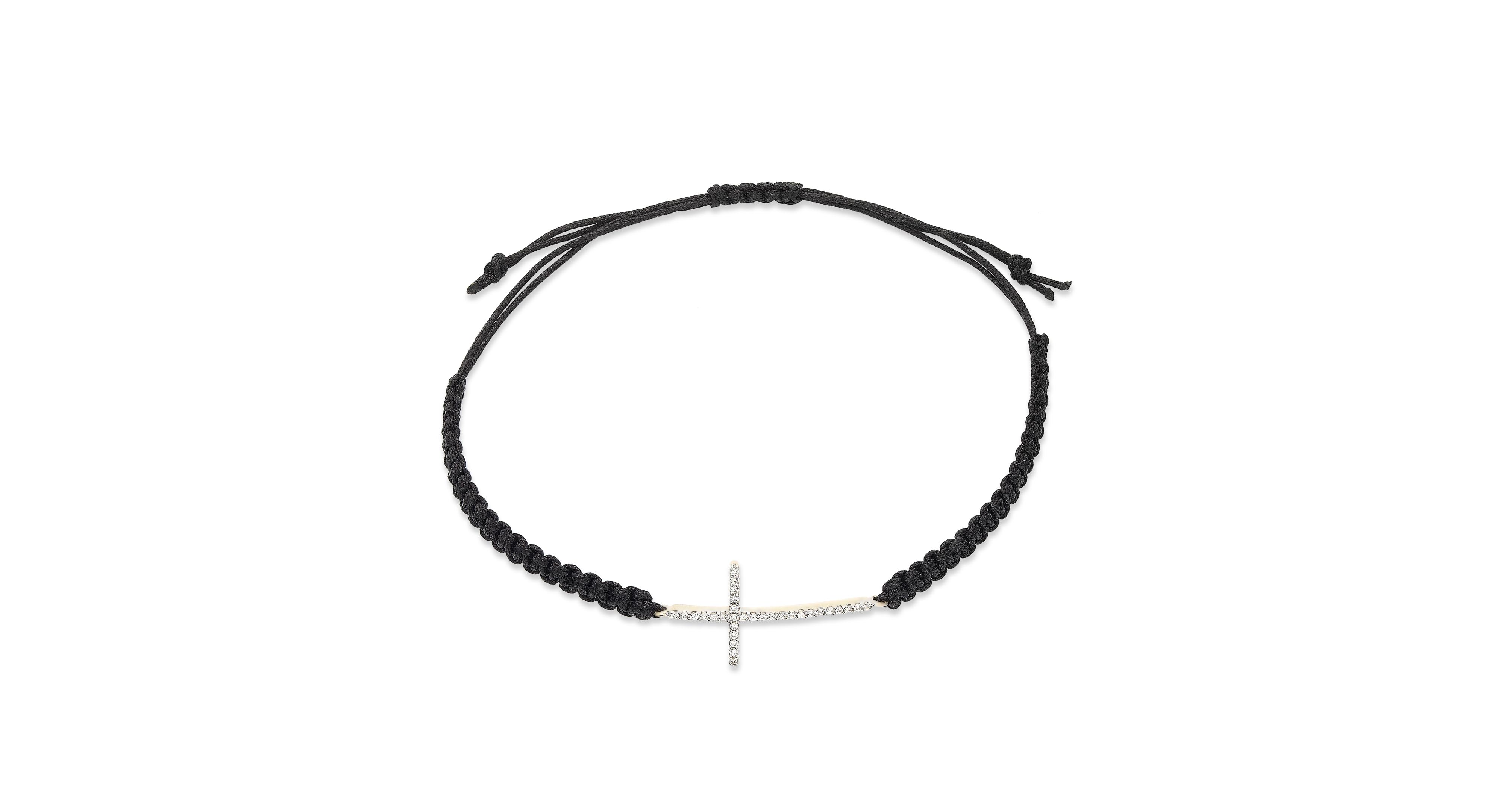 Diamond cross parachute cord bracelet in ct tw parachute