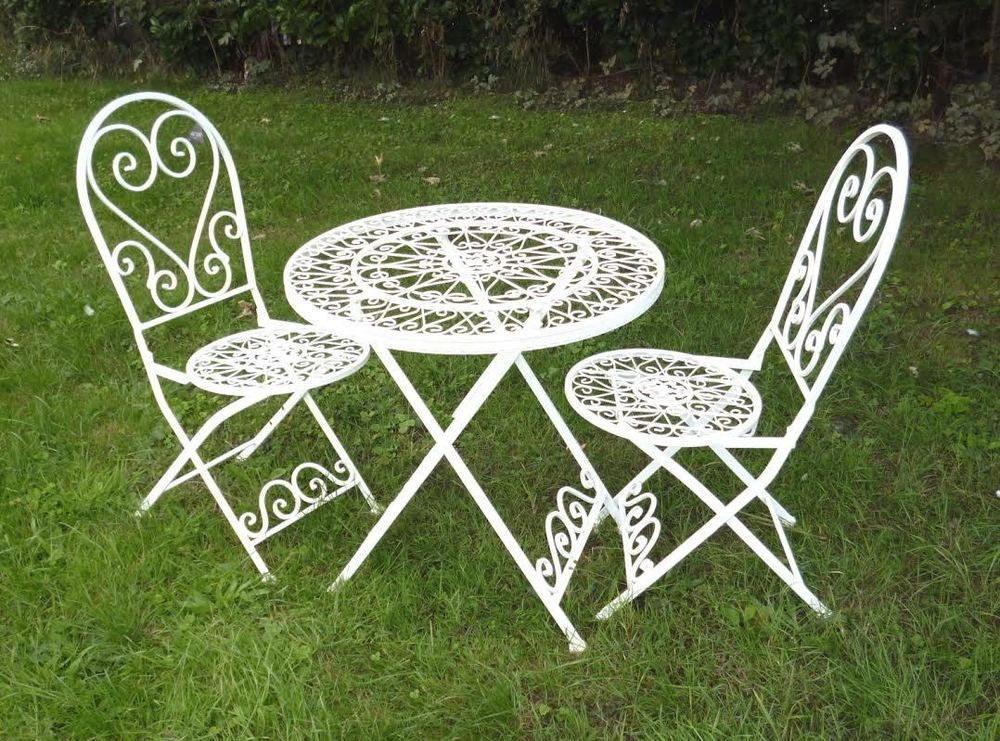 Antique Cream Wrought Iron 3 Piece Bistro Style Garden Patio