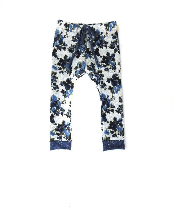 b7d56a6db Baby Leggings Blue Floral Sweat Pant Girls Handmade by EWMcCall, $30.00