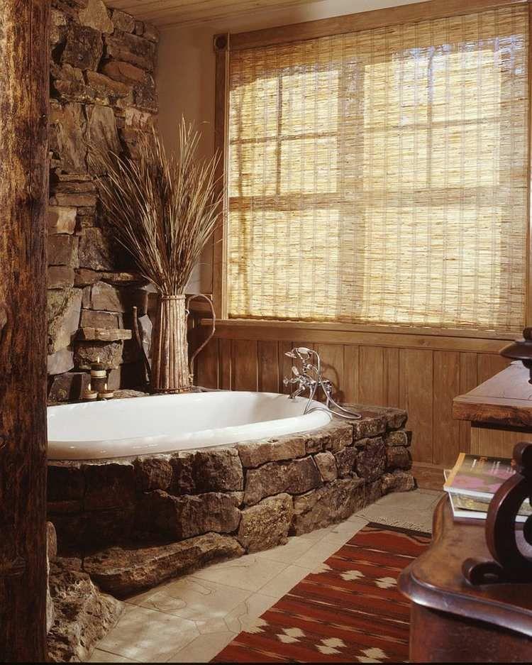 salle de bain rustique 100 id es d co salle de bain baignoire en pierre baignoires et salle. Black Bedroom Furniture Sets. Home Design Ideas