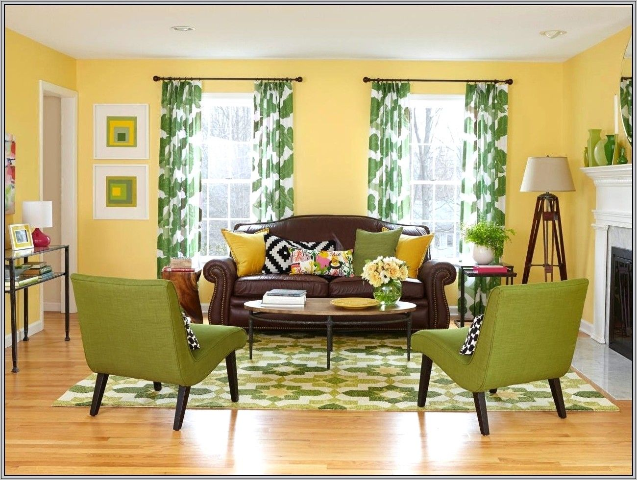 Dining Room Ideas With Yellow Walls in 2020   Brown living ...