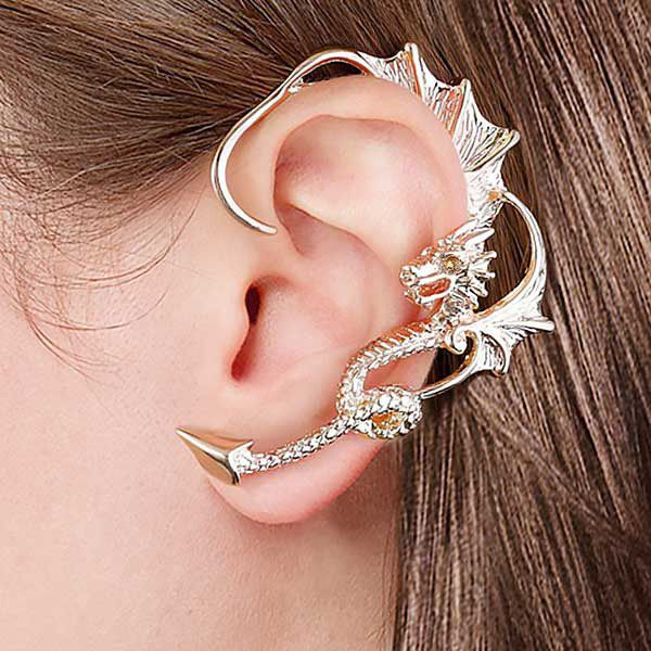8303bcb7b Through Your Ear Dragon Earring in gold and silver Lightweight and won't  hurt your ear Requires pierced ear to be worn Premium metal tin packaging  Made of ...