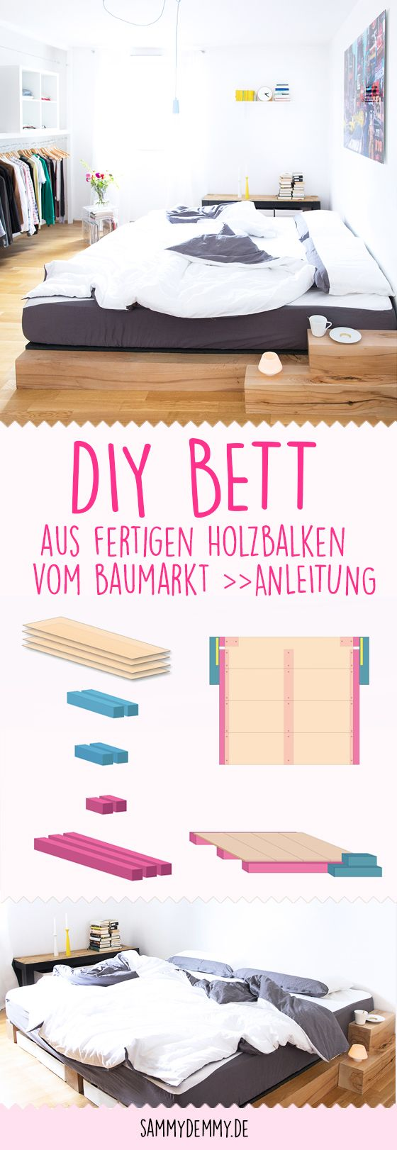 Diy Bett Anleitung Zum Selber Bauen Eines Massiv Holz Bettes Diy Bett Bett Selber Bauen Diy Mobel Selber Bauen