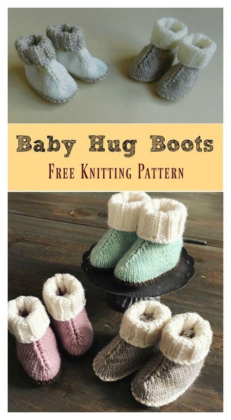 Baby Hug Boots Free Knitting Pattern | Puntadas, Bebé y Tejido