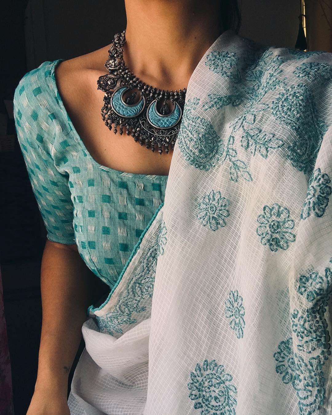 White Mint Blue saree Blouse Blue necklace White a