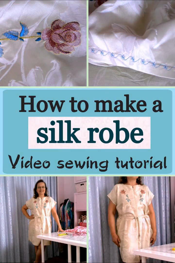 How to make a robe without a pattern from 100% silk fabric / step-by