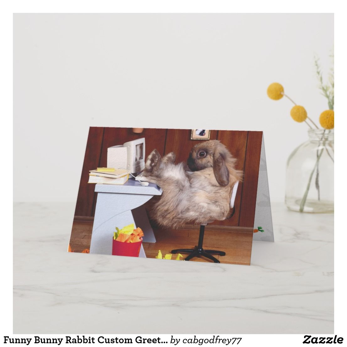 Funny Bunny Rabbit Custom Greeting Card Birthday Cardsfunny Cardsgreeting Cardshappy Cardbirthday Cardsonline Cards