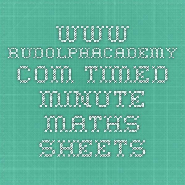 www.rudolphacademy.com - timed minute maths sheets | Homeschool ...
