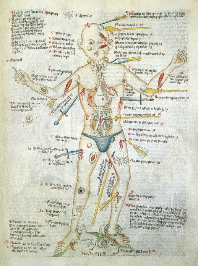"""La historia del """"Hombre Herido"""", los diagramas claves de la medicina ..."""